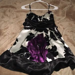 Girls black white and purple flowery dress